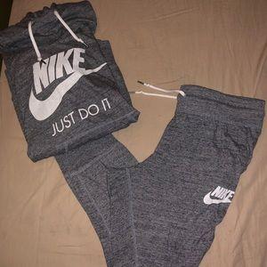 Grey Nike hoodie and pants set
